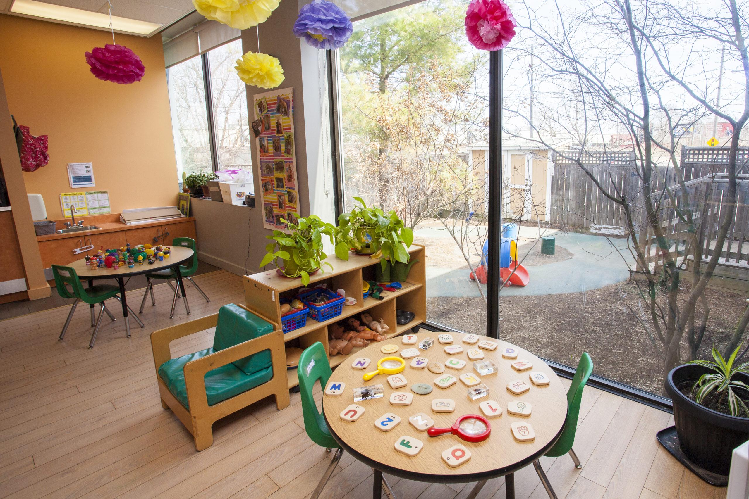 preschool classroom with tables