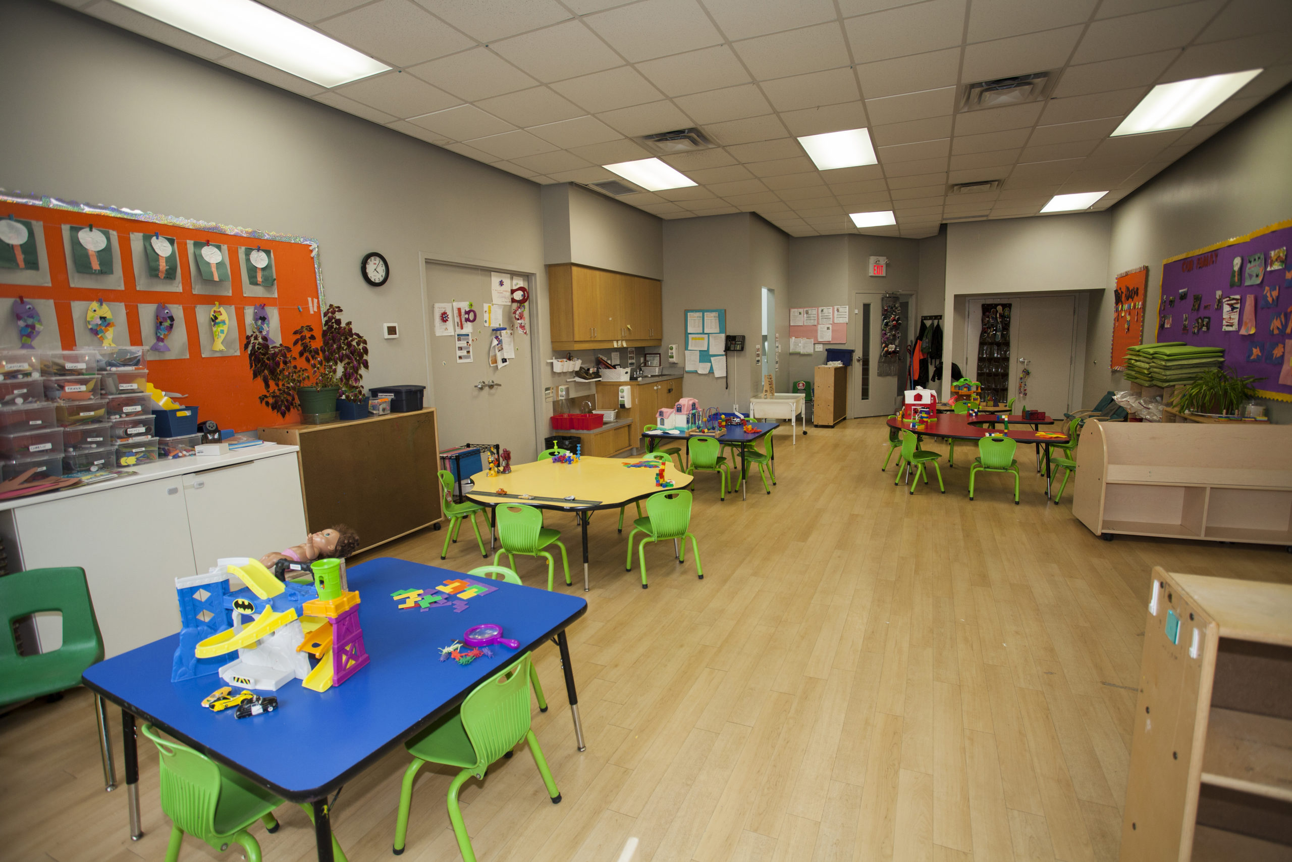preschool classroom with table and toys