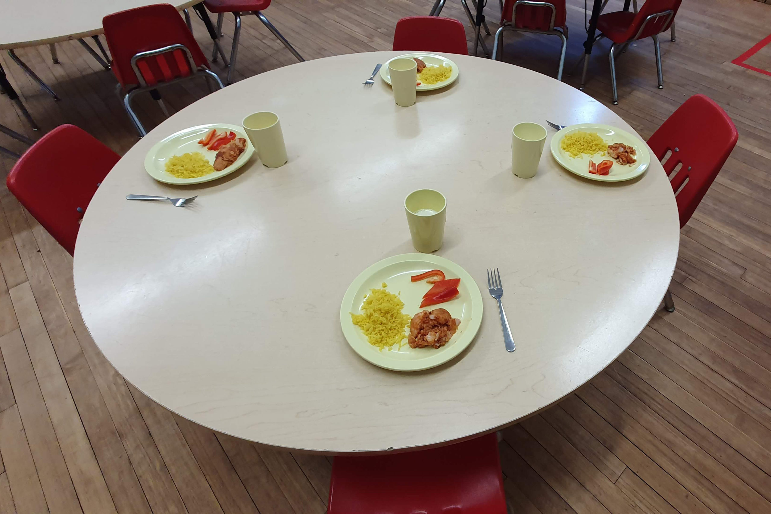 children's table set with food