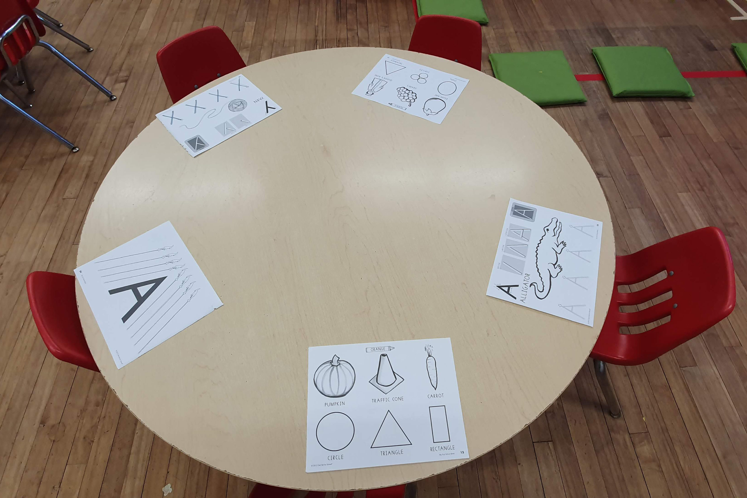 child's table with paper activities